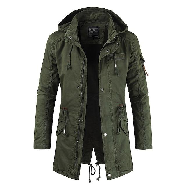 Men's Jacket Street Daily Outdoor Winter Coat Coats / Jackets Fashion Casual Daily Jacket Long Sleeve ArmyGreen khaki Navy Blue