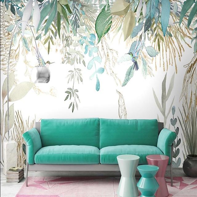 настенные обои настенная наклейка, покрывающая печать, корка и палка, съемный тропический пальмовый лист, холст, домашний декор