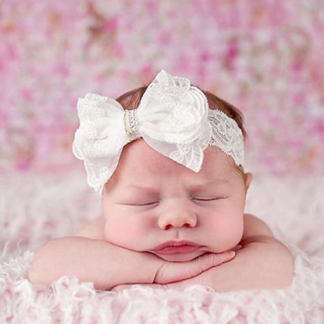 1pcs Toddler / Infant Girls' Active / Sweet White Solid Colored Bow Lace Hair Accessories White One-Size