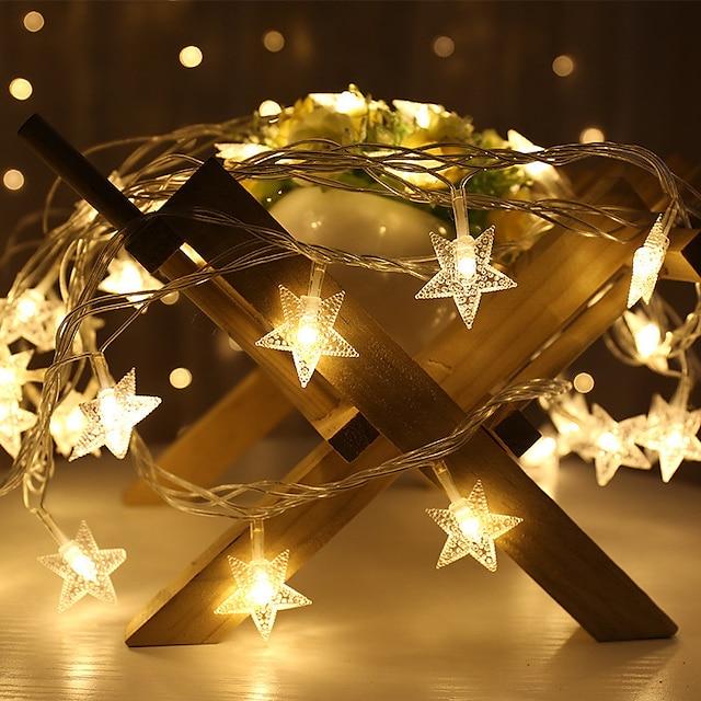1.5m 3m led fairy lights string γιρλάντα αστέρι εσωτερικό φως ευέλικτη κορδόνι twinkle γιρλάντες διακόσμηση Χριστούγεννα Χριστούγεννα πάρτι διακοπών γάμο ζεστό λευκό φωτισμό aa μπαταρία (ελάτε χωρίς