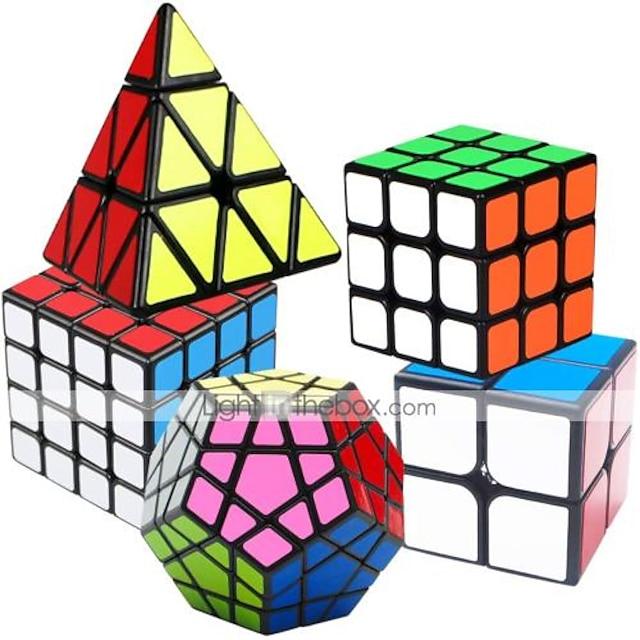 Set Speed Cube 5 pcs Cubo magico Cube intuitivo 2*2*2 3*3*3 4*4*4 Cubo a pazzle Cubo puzzle 3D Anti-stress Cubo a puzzle Liscio Giocattoli per ufficio Rompicapo A piramide Megaminx Per bambini Adulto