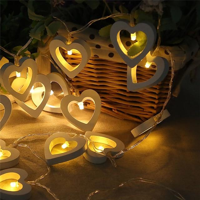 3m 20leds 1.5m 10leds forme de coeur LED guirlande lumineuse alimentée par batterie Convient pour la fête de Noël de mariage de conte de fées éclairage livraison sans batterie
