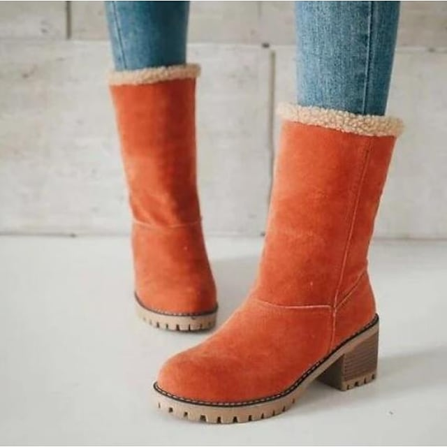 نسائي كتب كتلة أحذية كعب كعب متوسط أمام الحذاء على شكل دائري أحذية منتصف الساق كاجوال أساسي مناسب للبس اليومي المشي قطن لون سادة أسود برتقالي كاكي / جزمات متوسطة