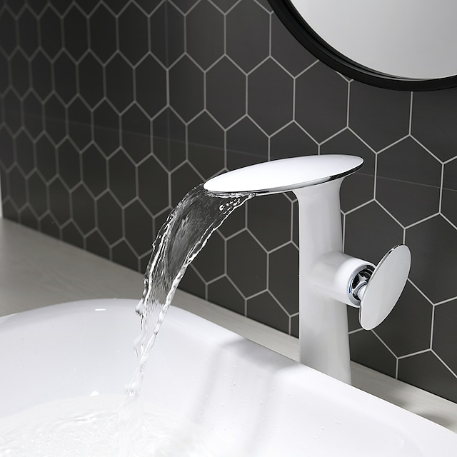 Bathroom Sink Faucet - White and Chrome Vanity High Waterfall Basin Faucet Hotel / Home Shower Room Centerset Single Handle One Hole Bath Vessel Sink Hot cold Water Mixer Taps