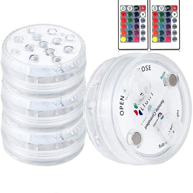 luce sommergibile a led per esterni ip68 impermeabile 4 pezzi 13 luci subacquee a led per stagno piscina fontana acquario vaso vasca da bagno decorazione lampada colorata con telecomando