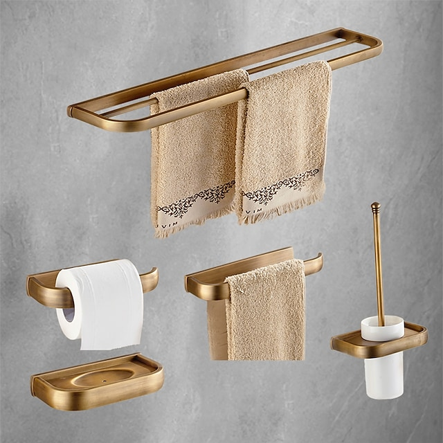 Bathroom Accessory Set Antique Metal with Toilet Paper Holders,Tower Rack,Soap Dish and Bathroom Rack Wall Mounted 5pcs