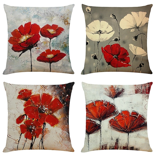 Set of 4 Artistic Flowers Linen Square Decorative Throw Pillow Cases Sofa Cushion Covers  Home Sofa Decorative