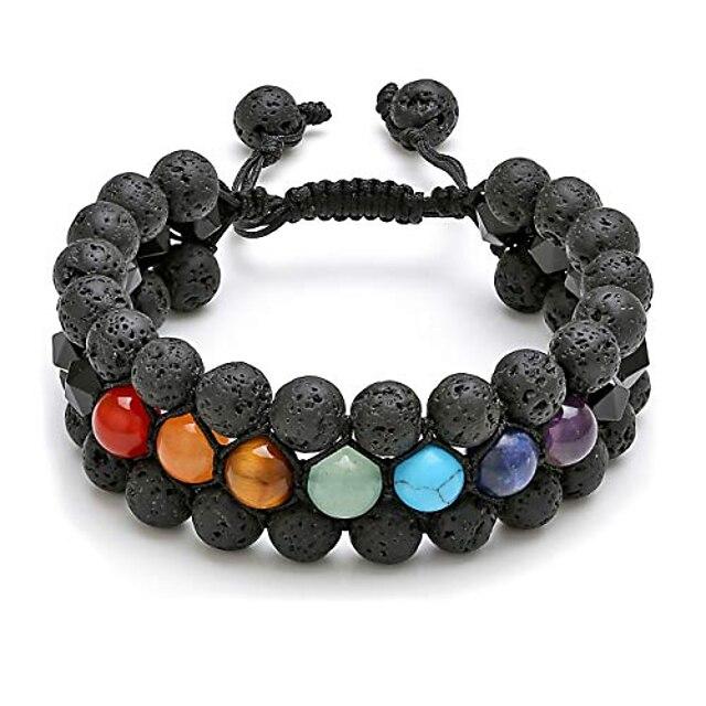 jovivi 7 chakra bracelet multi-layer black obsidian lava rock stone essential oil diffuser bracelet natural yoga beads healing energy crystals stretch bracelet