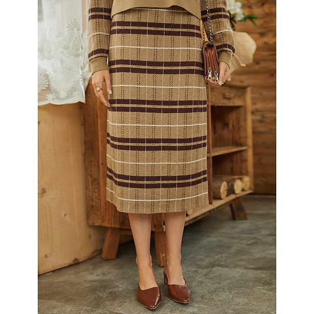 Women's Casual Daily Basic Skirts Striped Knitting Print Camel