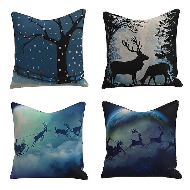 set di 4 fodere per cuscini in lino design speciale cartone animato tradizionale cuscino natalizio con fiocco di neve alce 45 * 45 cm