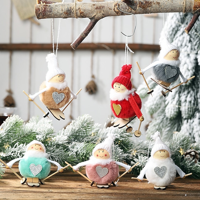 Christmas Decoration Plush Ball Doll Pendant Ski Snowman Small Hanging Christmas Tree Pendant