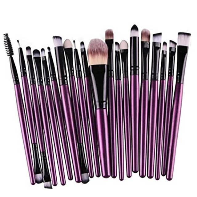 20 pcs/set of makeup brush tools,wool make up brush set make-up toiletry kit (purple)