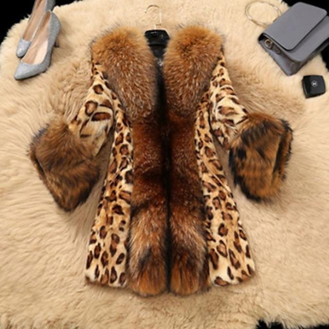 สำหรับผู้หญิง เสื้อโค้ทขนสัตว์เทียม ทุกวัน ฤดูใบไม้ร่วง & ฤดูหนาว ยาว โค้ท ปกติ ซึ่งทำงานอยู่ แจ็คเก็ต แขนยาว ลายเสือ สีน้ำตาล