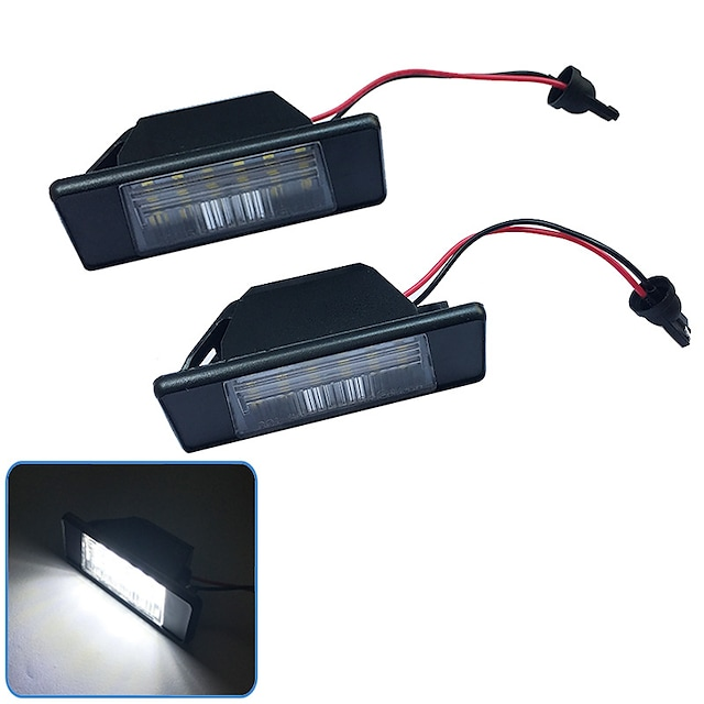 2 pièces 2W 12V 6500K 18LED éclairage de plaque d'immatriculation pour Nissan Qashqai Pathfinder R51 Primera P12 X-Trail