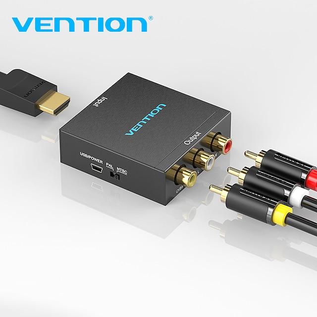 wynalazek Konwerter hdmi na av HDMI kompatybilny na rca cvbs adapter wideo l/r 1080p przełącznik kompatybilny z hdmi z kablem zasilającym mini usb do tv box kompatybilny z av hdmi