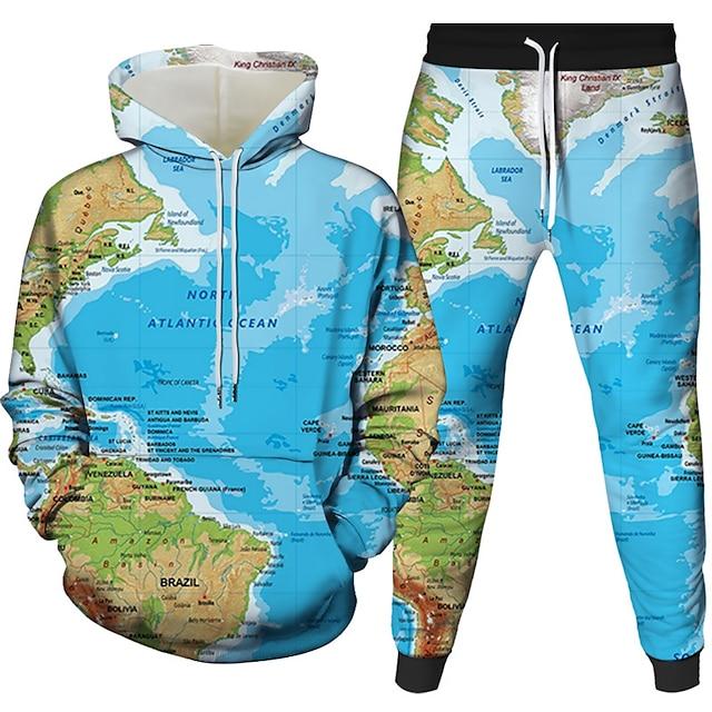 Voor heren 3D-hoodies set Grafisch 3D 2-stuks Dagelijks 3D-afdrukken Informeel Hoodies Sweatshirts blauw Marine Blauw Beige