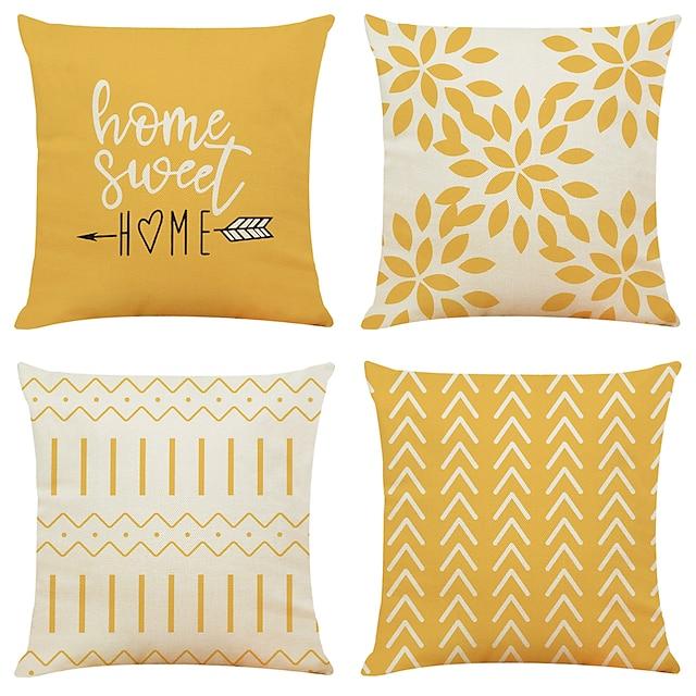 funda de cojín 4pc imitación de lino suave decorativo cuadrado tiro funda de almohada funda de cojín funda de almohada para sofá dormitorio de calidad superior al aire libre cojín para sofá sofá cama