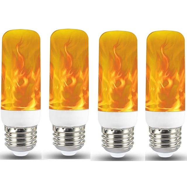 4pcs 1pcs 새로운 led 동적 불꽃 효과 화재 전구 e27 led 옥수수 전구 크리 에이 티브 깜박이는 에뮬레이션 5w led 램프 빛