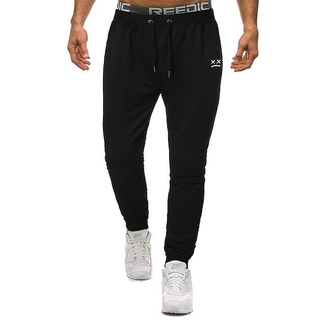 Men's Sporty Basic Outdoor Cotton Loose Daily Pants Sweatpants Pants Solid Colored Full Length Sporty Drawstring Black Blue Gray / Elasticity