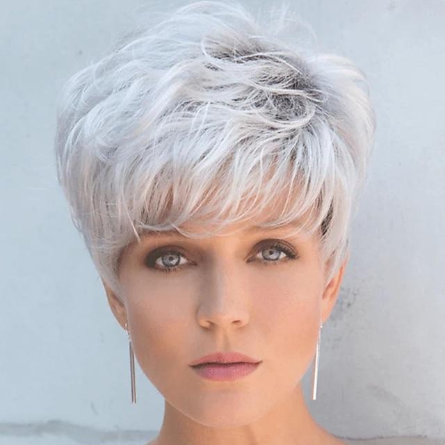синтетический парик свободный завиток короткий парик боб короткие серебристо-серые синтетические волосы мужской модный дизайн крутой изысканный серебристо-черный
