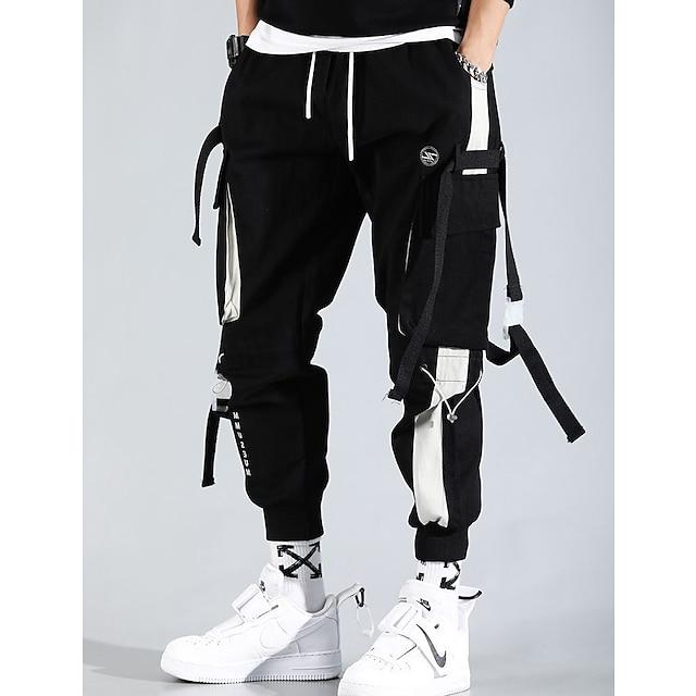 מכנסי מטען לגברים מכנסי רחוב עם מכיסים מרובי כיסים מכנסי הרמון ספורט היפופ פאנק רצים