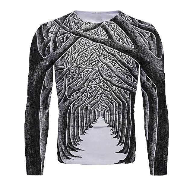 Herre T skjorte 3D-utskrift Grafisk 3D Trykt mønster Langermet Jul Topper Rund hals Mørkegrå