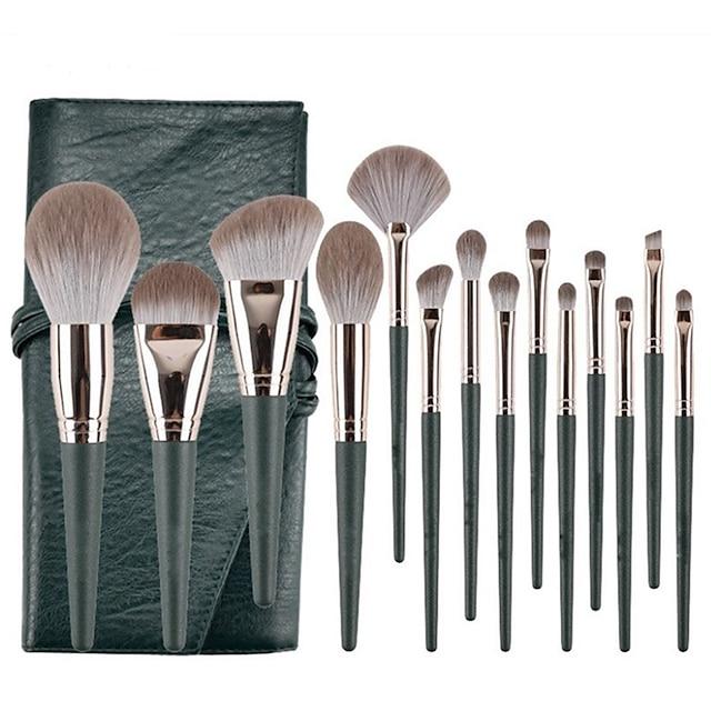 14 kpl vihreää pilviä meikkiharjasetti erittäin pehmeä aloittelija koko joukko kauneudenhoitotuotteita harjan meikkivoide poskipuna luomiväri nenävarjo harjan muotoinen peitevoide