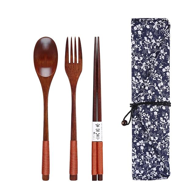 set di bacchette forchetta cucchiaio di legno set di stoviglie set di posate da esterno portatile