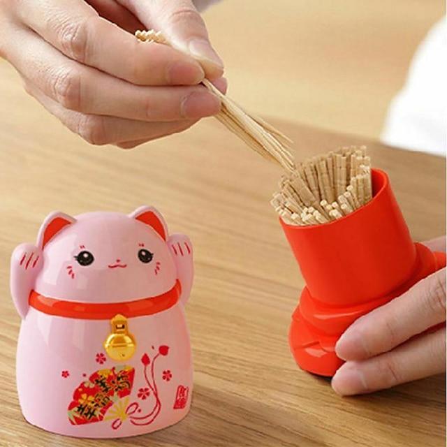 แมวนำโชคไม้จิ้มฟันกล่องเก็บของสไตล์ญี่ปุ่นในบ้านครัวเดสก์ท็อปที่ใส่ไม้จิ้มฟันตกแต่งร้านอาหารที่บ้าน