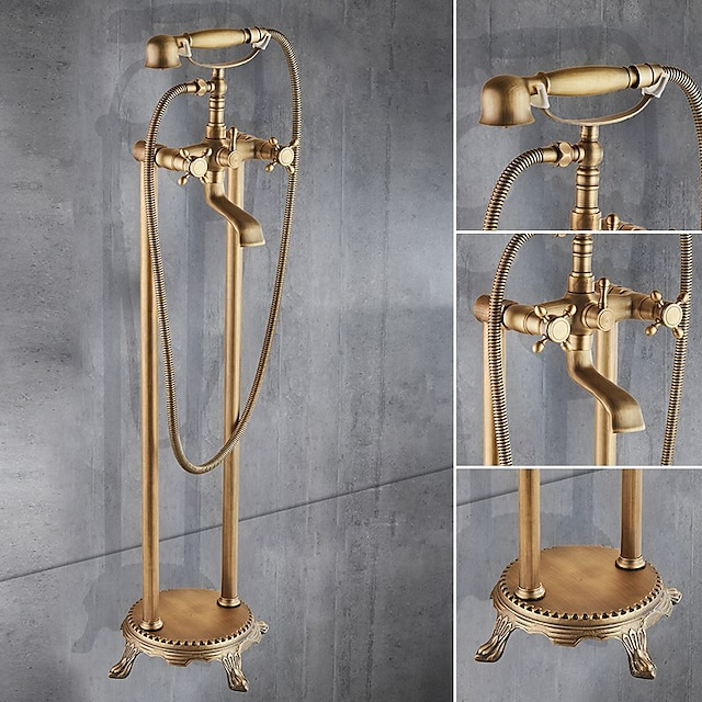 Floor Standing Bathtub Faucet,Brass Two Handles Two Holes Retro Bath Shower Mixer Taps Include Handshower and Drian with Hot and Cold Water