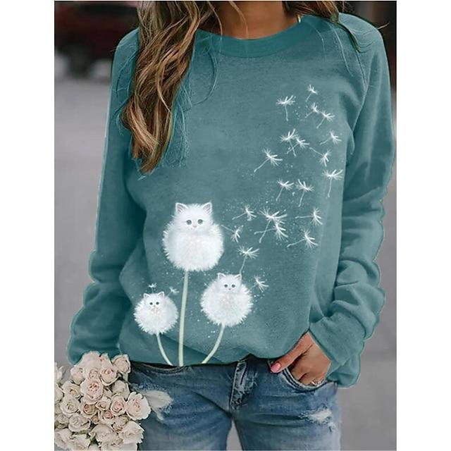 Damen Pullover Sweatshirt Grafik Löwenzahn Alltag Freizeit Kapuzenpullover Sweatshirts Blau