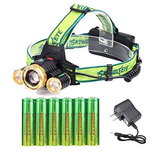 3 Cree 18650 genopladelig forlygte justerbar vandtæt LED zoombar lyseste forlygte med 6 stk 18650 batterier og opladere forlygter til camping løbende udendørs aktiviteter