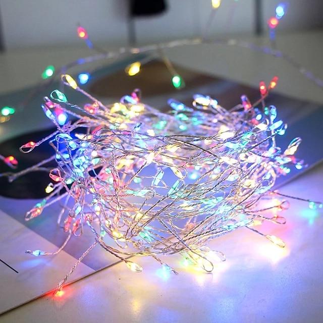 1x 2m kobbertråd farverig led fleksibel streng lys fyrværkeri fe krans ferie lys til jul vindue nytår fest dekoration aa batteridrevet