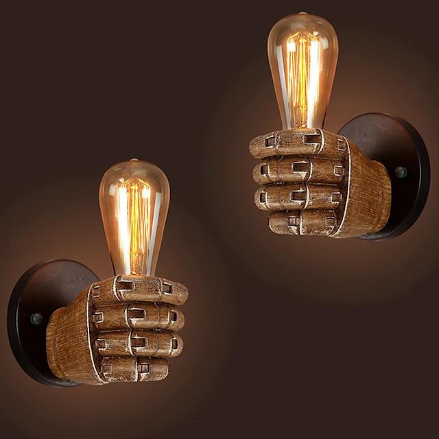 античный настенный светильник в кулаке из смолы европейский бар ресторан кафе декоративный настенный светильник левый правый настенный светильник рождественские украшения ac110v ac220v