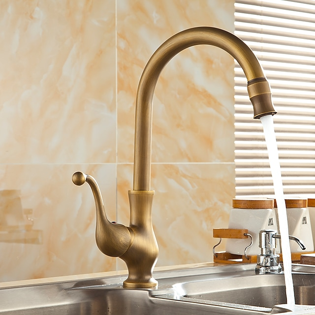 Antique Brass Kitchen Faucet,Single Handle One Hole Standard Spout Centerset Contemporary Rotatable Kitchen Taps with Cold and Hot Switch