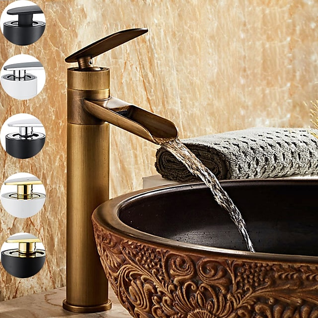 Brass BathroomFaucet,Single Handle One Hole Electroplated Rotatable Waterfall BathroomSink Faucet Contain with Supply Lines and Cold/Hot Switch