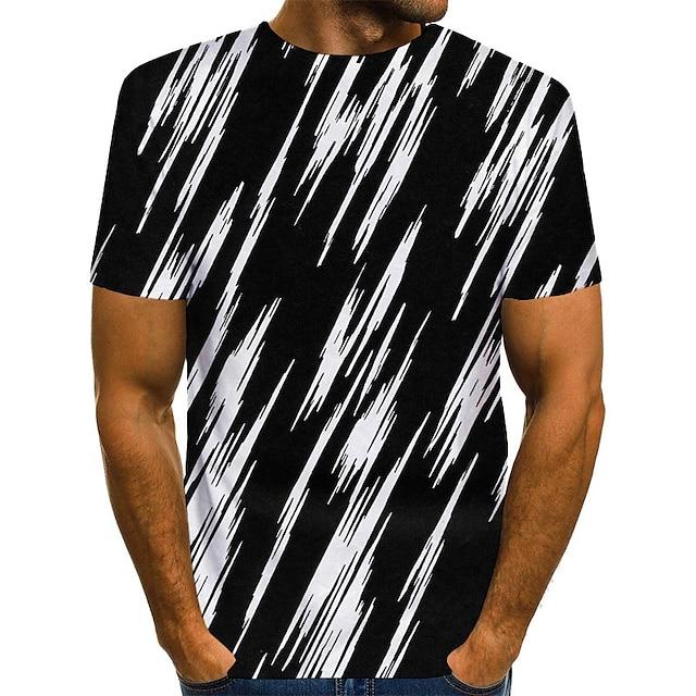 Erkek T gömlek 3D Baskı Grafik Desen Kısa Kollu Günlük Üstler Sokak Şıklığı Siyah