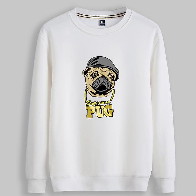 Dames Trui met capuchon Hond Grafisch Tekst Dagelijks Basic Hoodies Sweatshirts Wit Zwart Rood