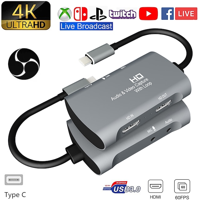 carte de capture vidéo usb 1080 à double hdmi 4kp 60fps ps4 jeu xbox audio en direct youtube diffusé sur facebook