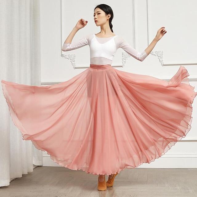 Balli da sala Gonne Con ruche A fasce Tinta unita Per donna Addestramento Prestazioni Alto Chiffon