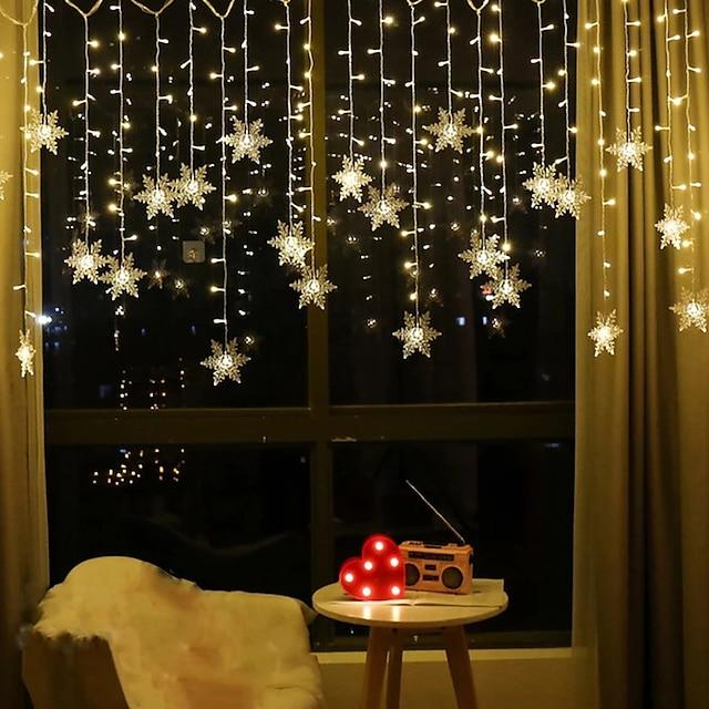 3,5 m 96 leds snefnug gardin streng lys førte jule gardin lys stue soveværelse jul nytår bryllup Valentinsdag dekoration