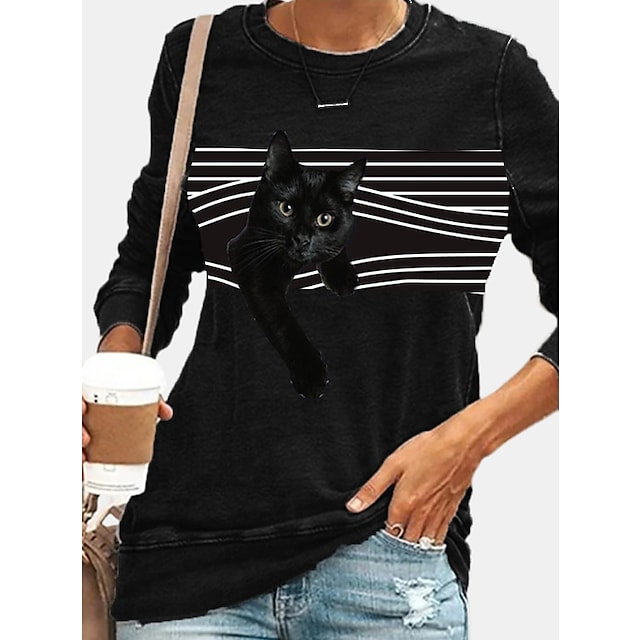 Damskie Bluza z Kapturem Bluza dresowa Prążki Kot Graficzny Codzienny Codzienny Bluzy z kapturem Bluzy Czarny