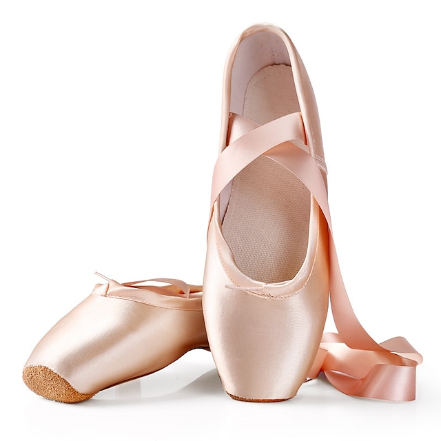Women's Ballet Shoes Pointe Shoes Ribbons Flat Heel Pink Lace-up Adults' / Performance / Satin / Practice