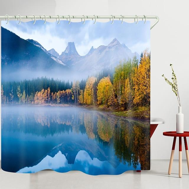 Misty mountain lake impressão digital cortina de chuveiro cortinas de chuveiro ganchos poliéster moderno novo design 72 polegadas