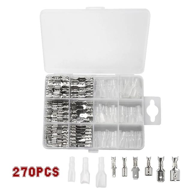 270 pièces 2.8 / 4.8 / 6.3mm bornes à sertir joint isolé connecteurs de fil électrique kit d'assortiment de connecteur de borne à sertir