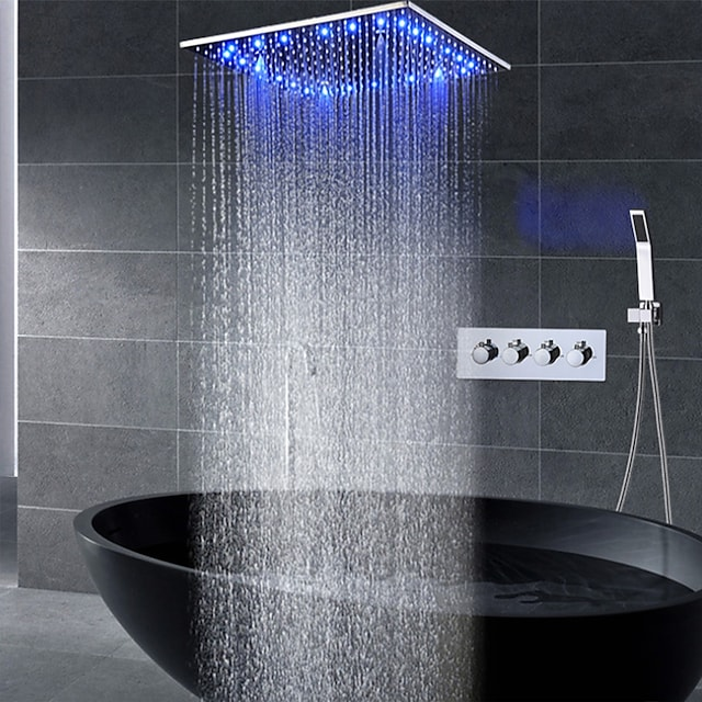 16 Inch Shower Faucets Sets Complete with Spray Rainfall Shower Head Ceiling Mounted LED Shower Head System(Contain Shower Faucet Rough-in Valve Body and Trim)