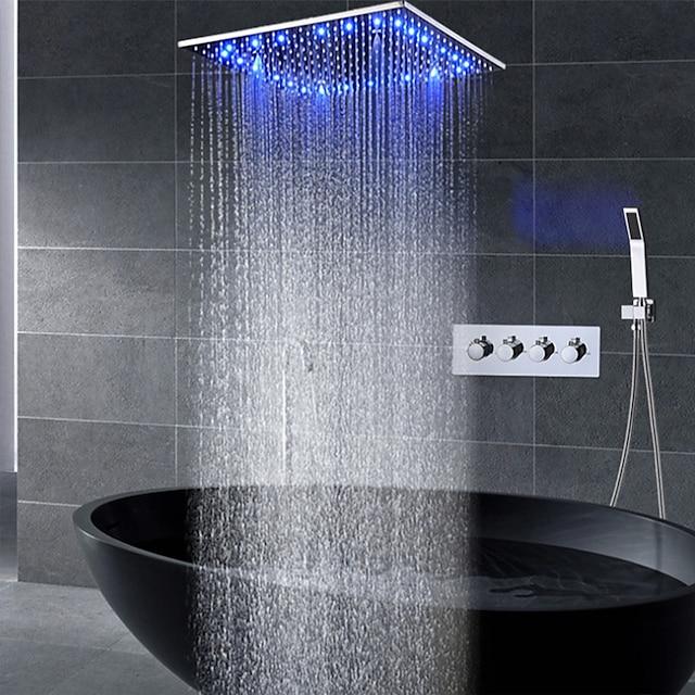 Sprey yağış duş başlığı tavana monte led duş başlığı sistemi ile tamamlanan 16 inç duş bataryaları setleri (duş bataryası pürüzlü vana gövdesi ve trim içerir)