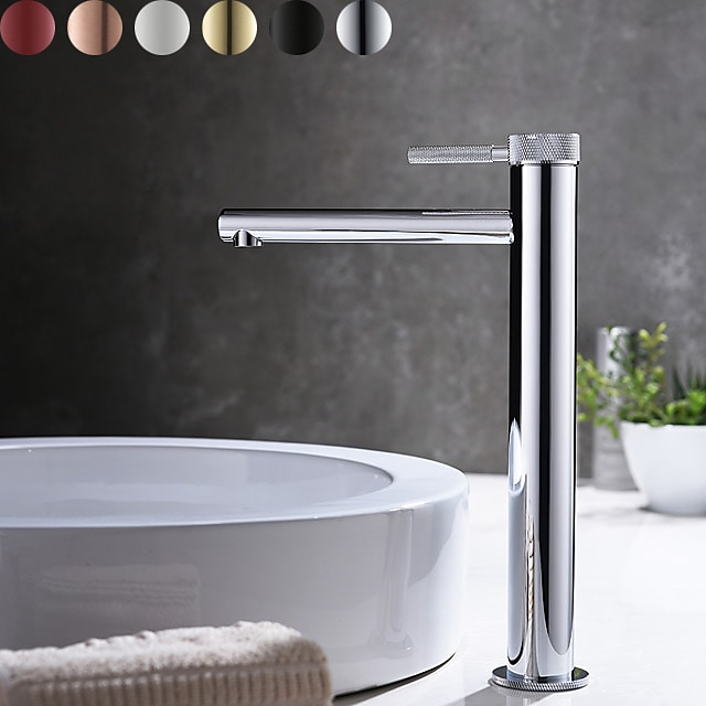 Bathroom Sink Faucet - High Chrome / Brushed Gold / Black Or White Painted Finishes Centerset Single Handle One Hole Bath Mixer Taps Deck Mounted Tall Vessel Vanity Basin Faucet