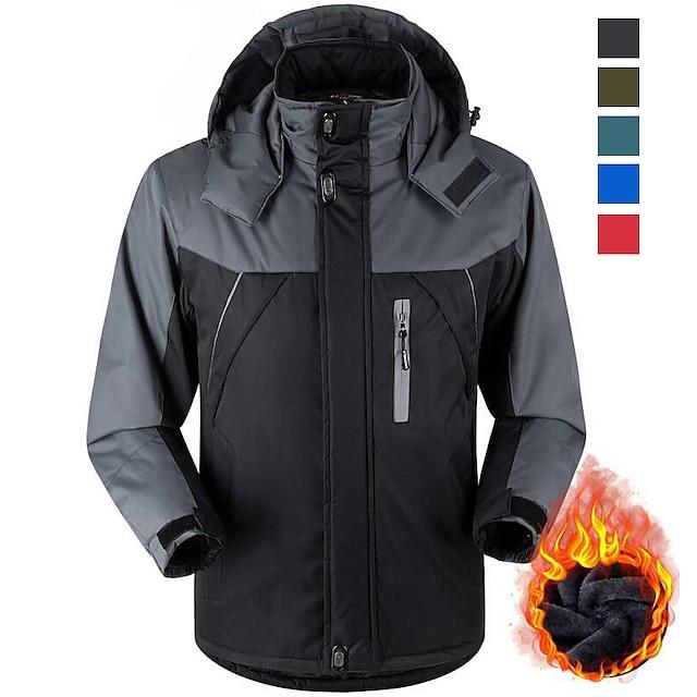 Men's Hiking Fleece Jacket Ski Jacket Hoodie Jacket Velvet Winter Jacket Outdoor Thermal Warm Waterproof Windproof Lightweight Outerwear Windbreaker Trench Coat Full Zip Camping Ski / Snowboard