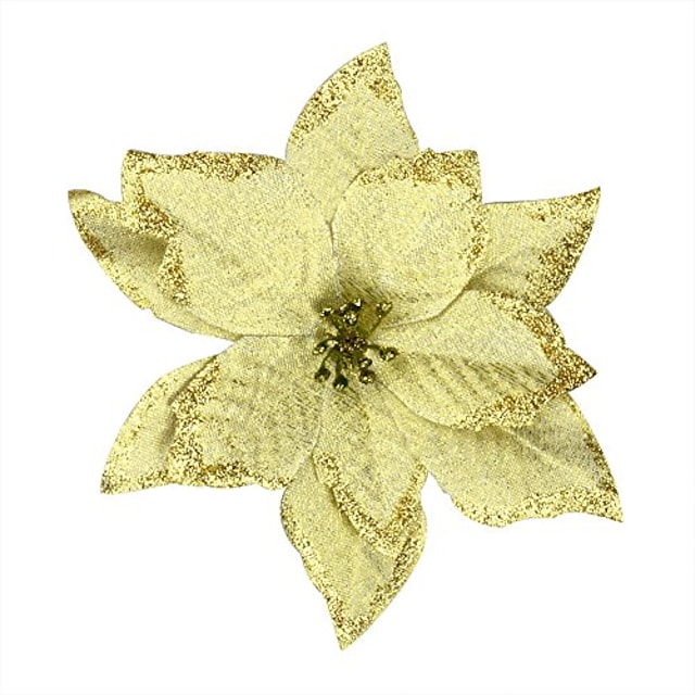 6pcs 5 inch glitter artificial wedding christmas flowers with ties xmas tree wreaths decor ornament gold